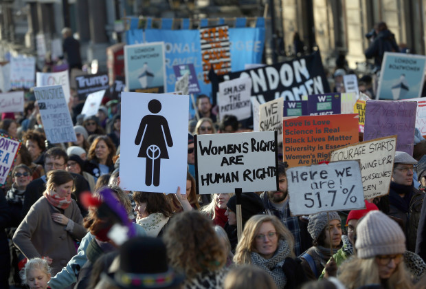 Protesters take part in the Women's March on London, as they walk from the American Embassy to Trafalgar Square, in central London, Britain January 21, 2017. The march formed part of a worldwide day of action following the election of Donald Trump to U.S. President.  REUTERS/Neil Hall - RTSWNZ6