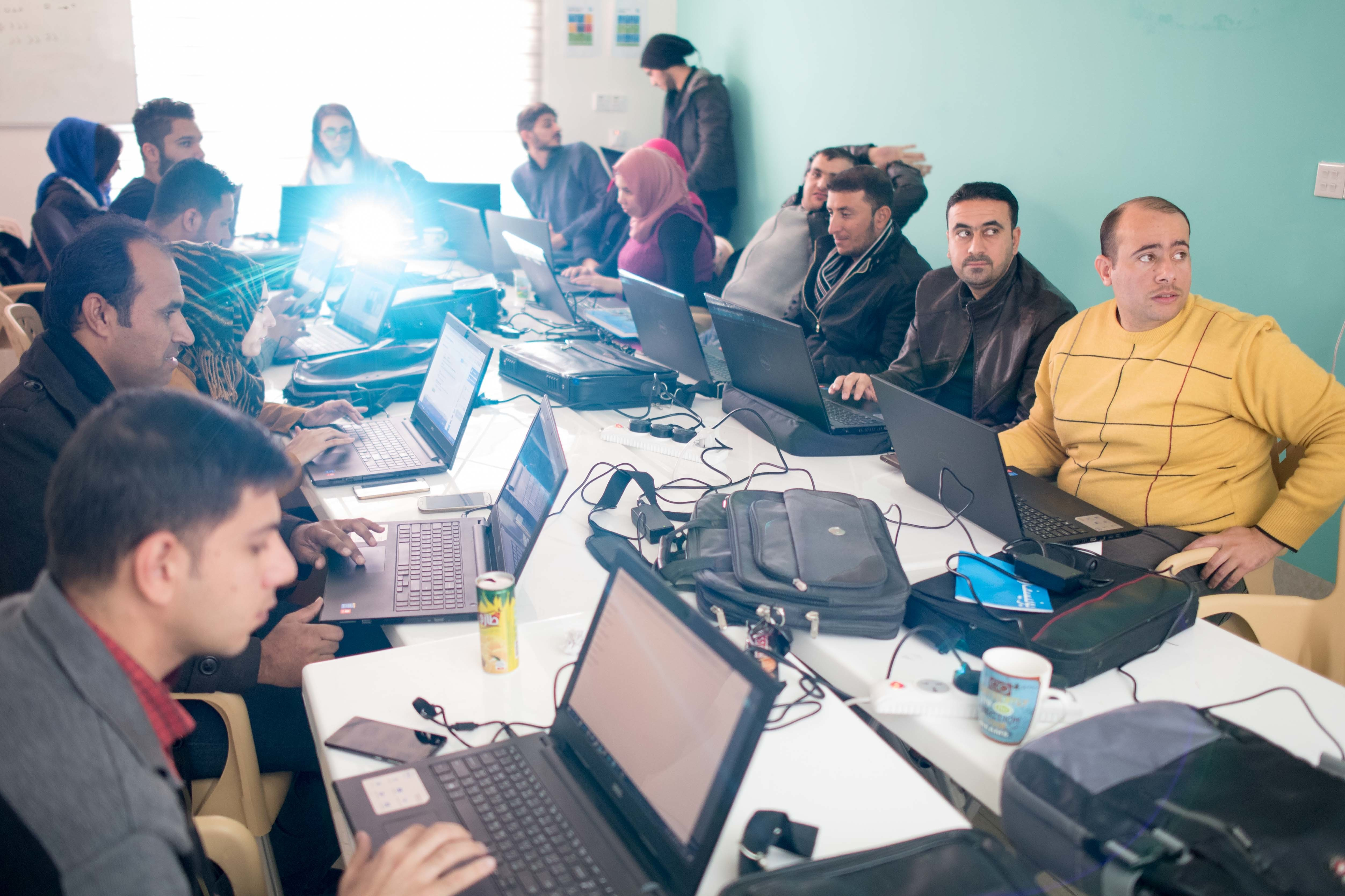 The morning class at Re:Coded in Erbil, Iraq