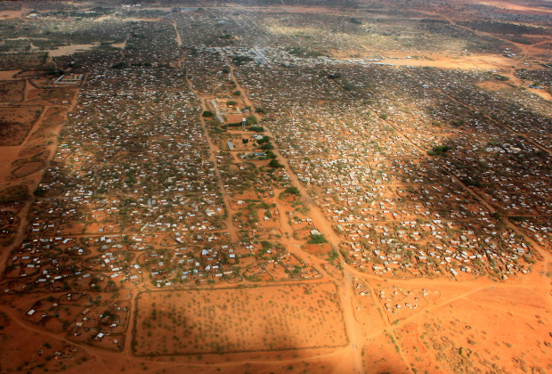 An aerial view shows makeshift shelters at the Dagahaley camp in Dadaab, near the Kenya-Somalia border in Garissa County, Kenya, April 3, 2011. REUTERS/Thomas Mukoya/File Photo - RTX2DJ6H