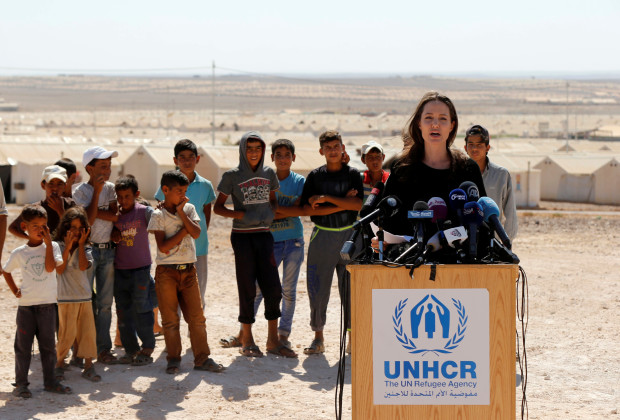 Actress Angelina Jolie speaks to the media during her news conference at Azraq refugee camp for Syrians displaced by conflict, near Al Azraq city, Jordan, September 9, 2016. REUTERS/Muhammad Hamed - RTX2OU28