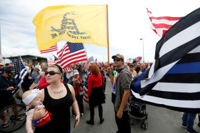 Heavily Armed Left-Wing Group Shows Up At Pro-Trump Rally