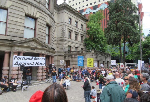 Groups opposing a free speech rally in Portland made their voices heard on Sunday.