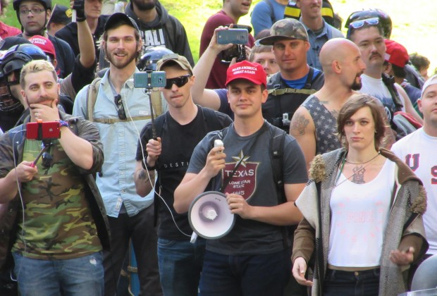 A pro-Trump group gathers during a free speech rally in Portland on Sunday.